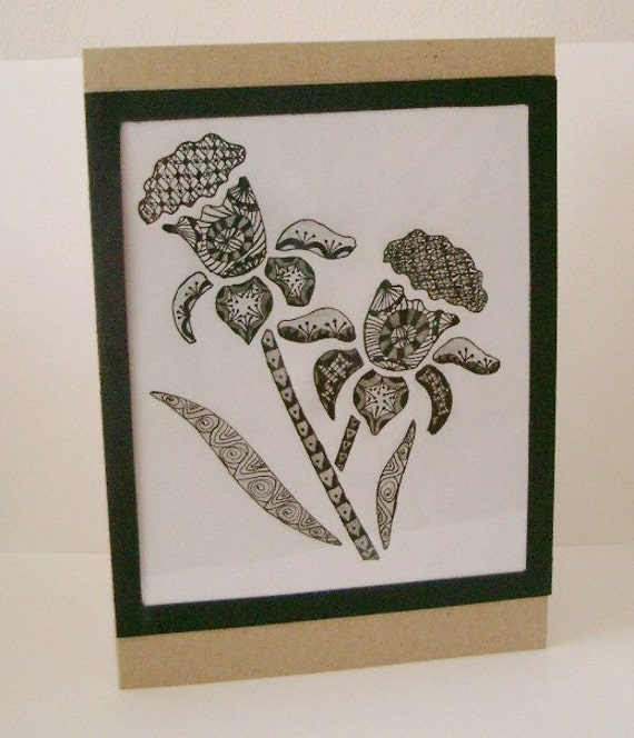 Black And White Daffodil Zentangle Birthday By