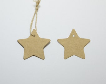 100pcs Star Shaped Hang Tags, Kraft Card, Blank Merchandise Tags, Price Tags, Includes Free 32ft Jute Strings in a Bobbin #SD-S7764