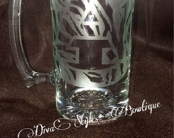 Sports team mugs, Auburn Mugs, Alabama mugs, College beer mugs, Football beer mugs, etched gifts, etched glass, etched mug
