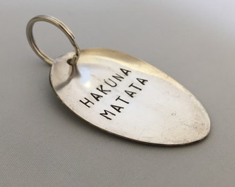 stamped spoon key ring, hakuna matata, customised cutlery, personalised key chain, gifts for her. inspirational accessories,