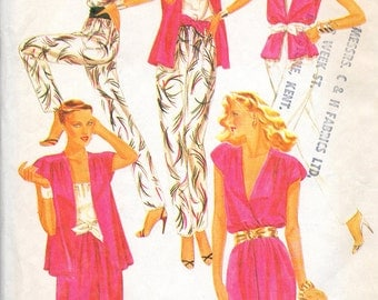 """Vintage sewing pattern McCall's 7105 Jacket, Camisole, Skirt, Pants and Sach Bust 34"""""""