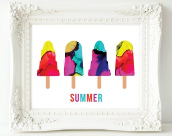 Kids Summer Popsicles Wall Art Print, Lollipops Art Print, Nursery Wall Art, Instant download, digital download, modern art print, abstract