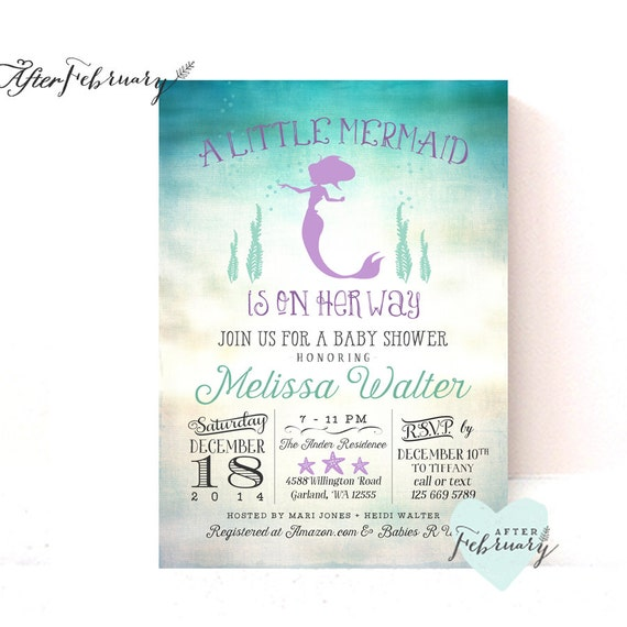 mermaid baby shower invitation little mermaid shower mermaid