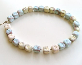 10mm Cube Beads with Flowers - aqua, yellow, ceramic beads, boho jewelry, rustic supplies, beads for bags, unglazed, natural, modern, unique