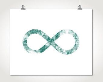unique love card infinity printable teal distressed minimalist bedroom living room wall art decor jpg poster digital print instant download