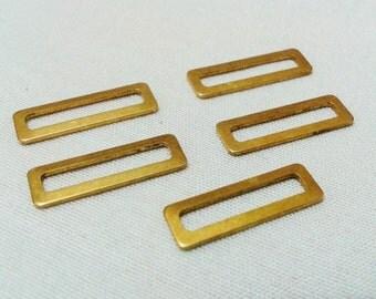 100 Pcs Raw Brass  6 x 19 mm Rectangular Findings