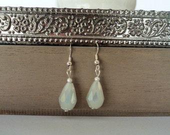 white teardrop earrings, opaque crystal earrings