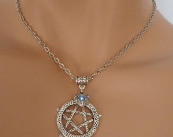 pentagram choker, pentagram necklace, heart charm, wicca jewellery