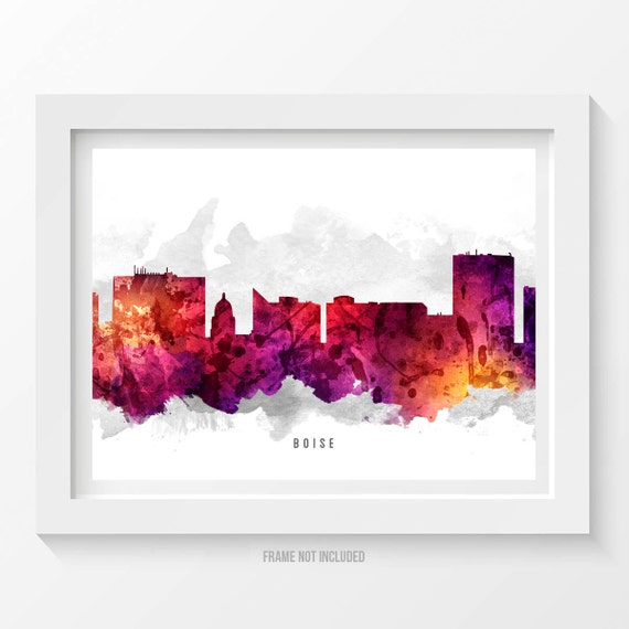 Boise Idaho Skyline Poster Boise Cityscape Boise Print