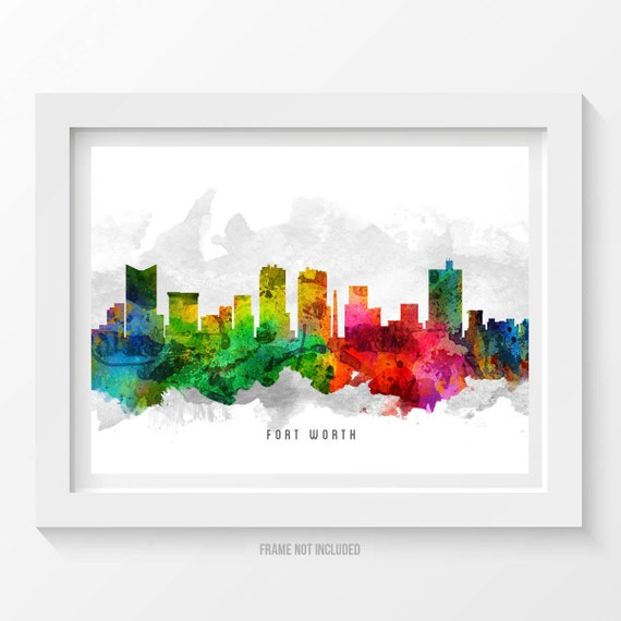 Fort Worth Skyline Poster Fort Worth Cityscape Fort Worth