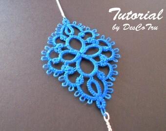 Tatting Bracelet Tutorial – Tatting Pattern - Frivolite - Make your own bracelet - DIY – Ice Blue Bracelet - Under 2 - Gift for her