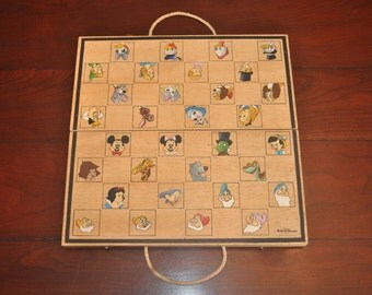 Collectible Vintage Walt Disney Wooden Folding Checker Board