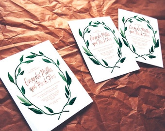 bohemian woodland wedding invitation // THE VINES // watercolor calligraphy hand painted wreath // white green coral kraft // DEPOSIT