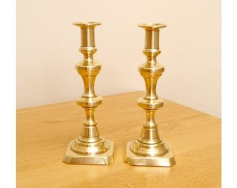 2 Vintage push up candle holders / candle sticks || solid brass