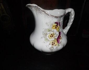 Vintage Severn Porc Pitcher Early 1900's. Floral design on white. Victorian. UK