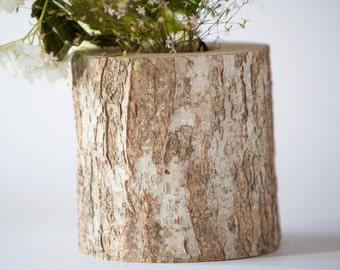 Rustic Wedding Vase Log Vase Wooden Vase Flower Vase Woodland Wedding Decoration