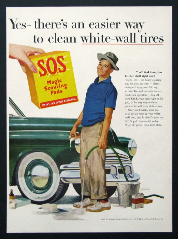 sos magic scouring pads 1950s clean white wall tires man washing his car vintage ads
