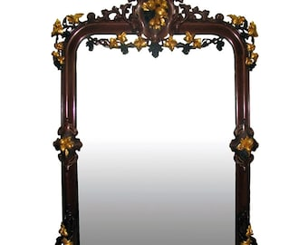 7336 19th Century Carved Renaissance Revival Mirror with Gilt Details