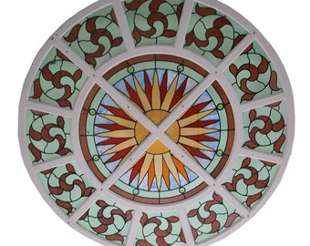 4817B Large Circular Antique Stained Glass Window