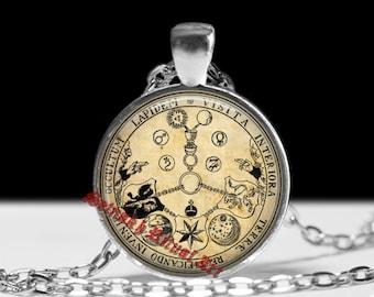 V.I.T.R.I.O.L pendant, Tabula Smaragdina, Rosicrucian amulet, Freemasonry pendant, antique paper background, gnostic, hermetic talisman #61