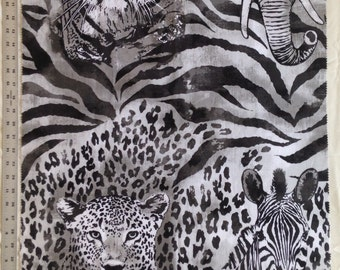 One Fabric Panel With Wild African Animals From Robert Kaufman 100% Designer Cotton