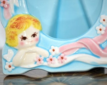 SALE Retro/Vintage 1950s - 50s - First Smile blue and pink ceramic baby frame