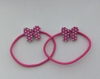 Pair of Pink Polka Dot wooden Bow Button Hair Bobbles, Elastics, Ties