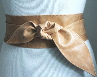 Distressed Tan Leather Obi Belt tulip tie| Waist or Hip Belt | Real Leather Belt| Handmade Belt | Wrap Belt
