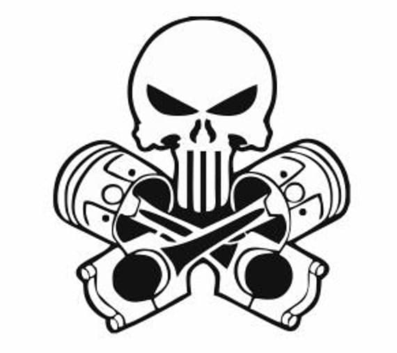skull and pistons decal for car and home  skull by tiffinsdesigns