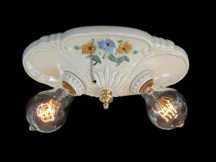 Vintage Porcelain Flush Mount Ceiling Light Fixture Rewired