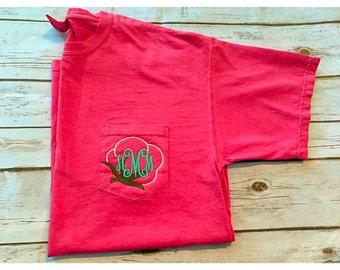 Cotton Boll Monogrammed Comfort Colors Pocket Tshirt