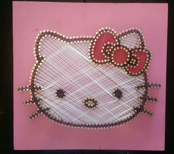Items similar to hello kitty string art wall decor on etsy - String art modele ...