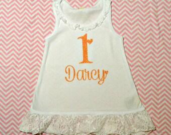 Lovely Girls Birthday Lace Dress (Light Orange Glitter)