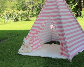 Pink and White Stripe Teepee, Kid's Play Tent, Fort, Child's Foldaway Teepee with Wood Poles