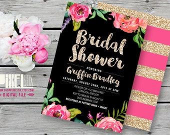 Gold Glitter Bridal Invitation, Floral Bridal Shower Invitation - CUSTOMIZABLE PRINTABLE INVITATION - Pink and Black, Watercolor Flowers