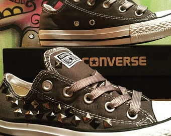 Custom Studded Gray Converse All Stars - Chuck Taylors ALL SIZES & COLORS!!!