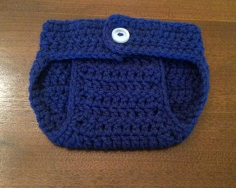 Crochet Diaper Cover in Navy Blue.