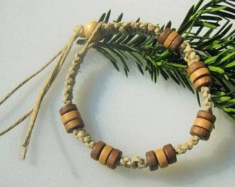 Mens Hemp Bracelet, Ankle Bracelet, Wooden Beaded, Hemp Choker, Hemp Necklace, Unisex Hemp Jewelry