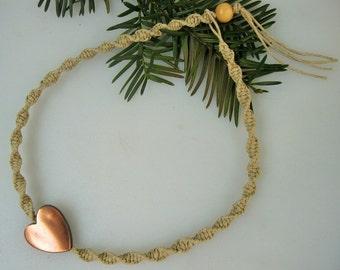 Hemp Choker, Hemp Necklace, Heart Choker, Heart Necklace, Heart Anklet, Heart Bracelet Unisex Hemp Jewelry, Friendship