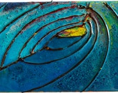 """Acrylic Poured Painting """"Small Wave Pour Nine"""" 06 x 09 x 1.5 Inches - Original, Handmade, Ready to Hang, Surf Art"""
