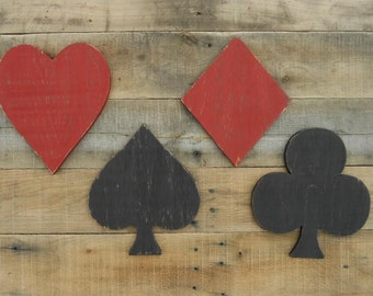 Wood Playing Card Symbols, Card Symbols, Wood Cards, Game Room Sign, Game Room Decor, Heart, Club, Diamond, Spade, Wood Heart, Wood Spade