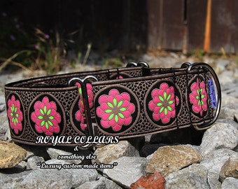 Floral Black Martingale Collar, 2 Inch Martingale Collar, Blue Black Pink Brown Collar