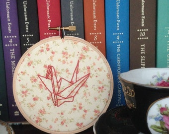 Origami Paper Crane Floral Embroidered Wall Hoop