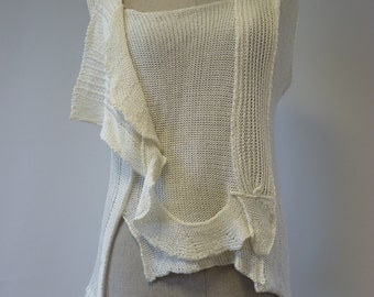 Handmade off white ecru linen top, M size. Only one sample.