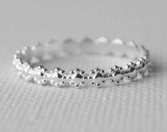 Sterling Silver Daisy Ring Flower embossed - Stacker - Stacking Ring -  Valentine Gift - Hippy Wedding Band - Hippie Jewelry
