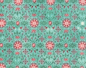 Evergreen Fabric. All is Bright, Snowflakes on Aqua, Christmas Fabric from Basic Grey and Moda, Holiday Fabric