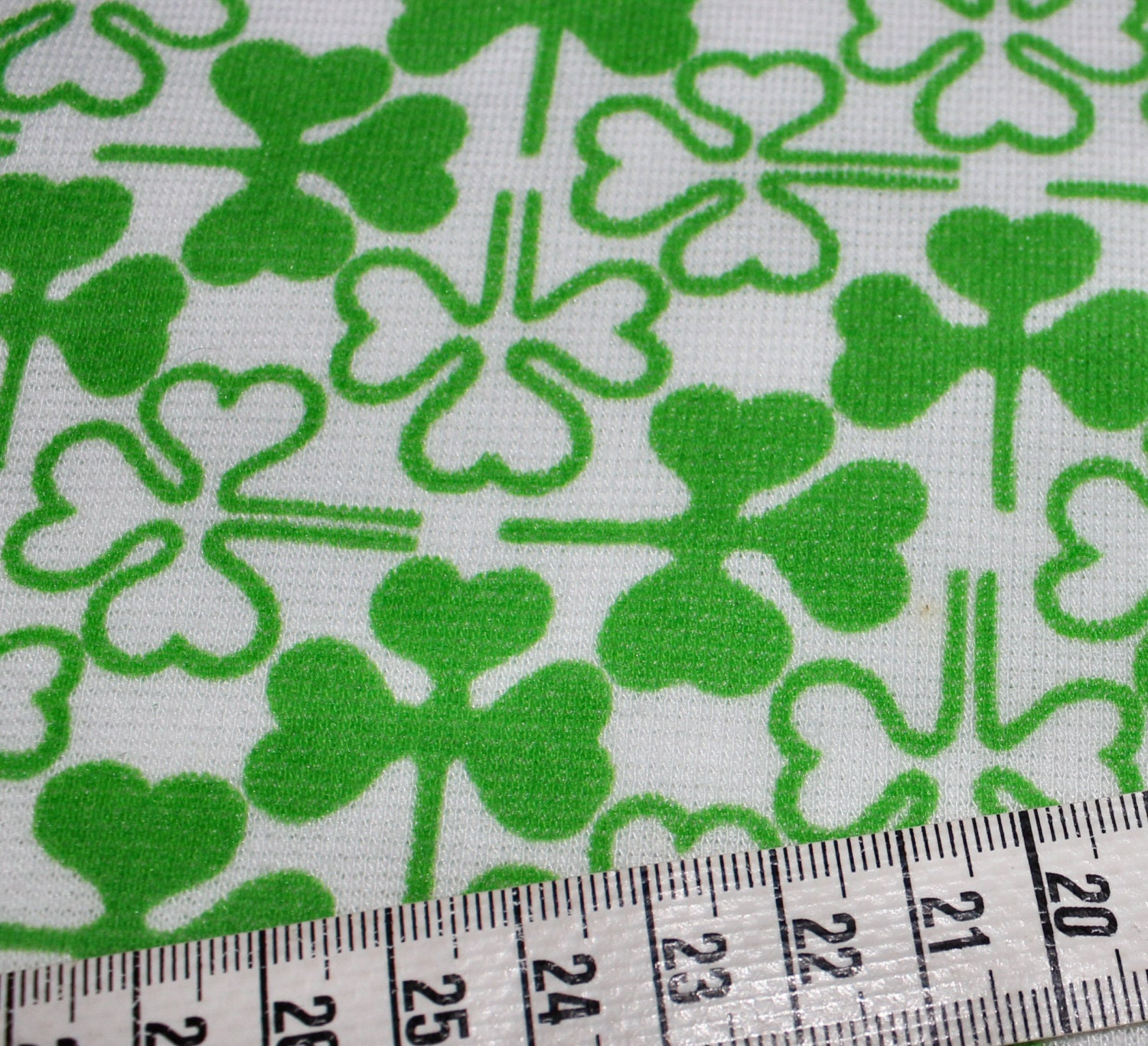 cute vintage retro fabric with printed clovers trefoils