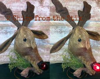 Rudy ~ The Light up Nose reindeer Tree Topper E-Pattern