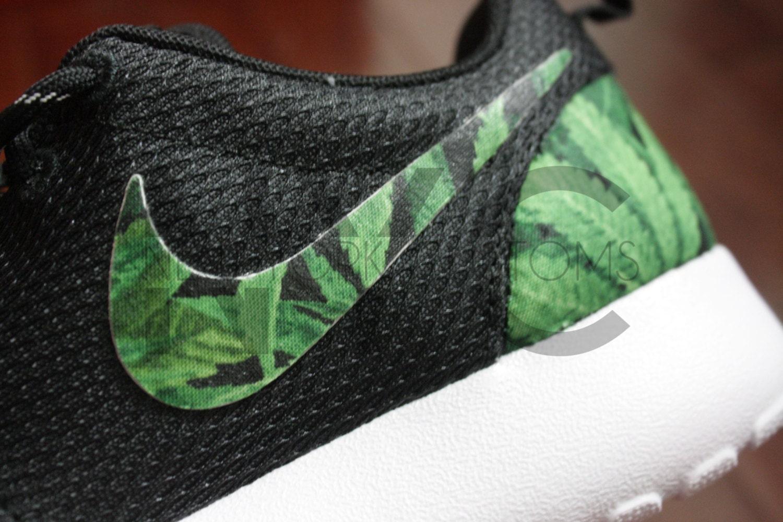 Nike Roshe Run Black White Cannabis Weed Print Custom Women &