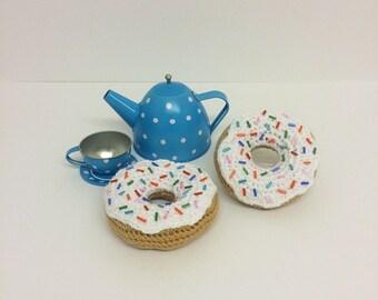 Play Food Crochet White Donut, Gift, Amigurumi